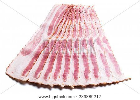 Slices of smoked bacon isolated on white background