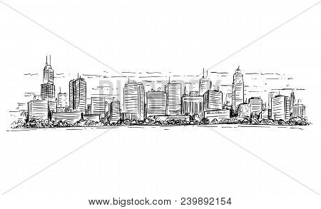 Vector Artistic Sketchy Pen And Ink Drawing Illustration Of Generic City High Rise Cityscape Landsca