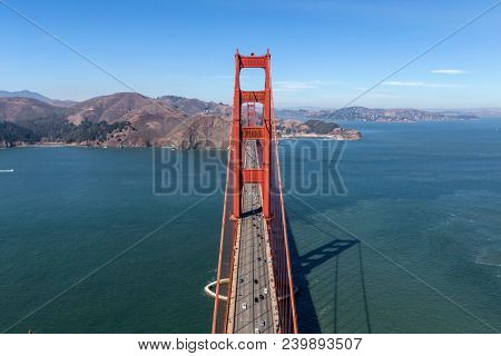 Aerial view of Golden Gate Bridge and Marin Headlands near San Francisco, California.