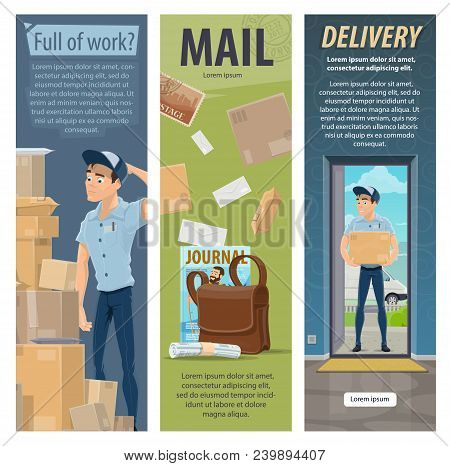 Post Mail Delivery And Postage Service Banners Of Post Shipping Transport And Postman At Work. Vecto