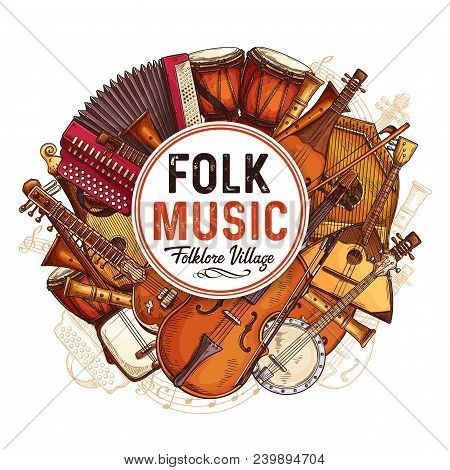 Folk Music Concert Sketch Poster With Musical Instruments. Vector Design Of Musical Button Accordion