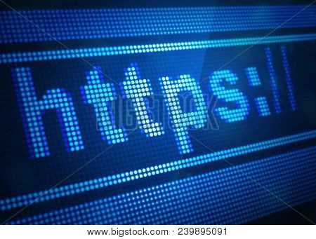 Https Digital Screen 3d Illustration With Blue Colour