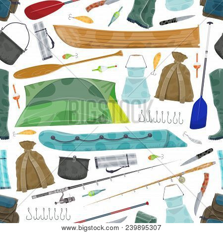 Fishing Seamless Pattern Of Fisherman Equipment For Fish Catch. Vector Pattern Background Of Tackles