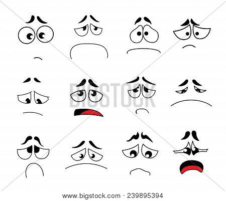 Set Of Funny Cartoon Eyes With Different Emotions. Cartoon Eyes With Expression And Emotions Isolate