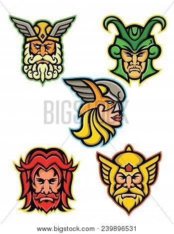 Mascot Icon Illustration Set Of Heads Of Norse Gods Such As Odin, Wodan, Woden Or Wotangod, Loki, Va