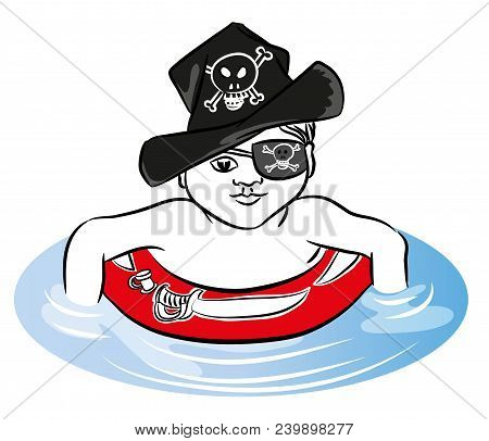 Pirate Boy Pirate Boy Swimming With Rubber Ring In The Sea. Pirate Boy With Rubber Ring And Hat.