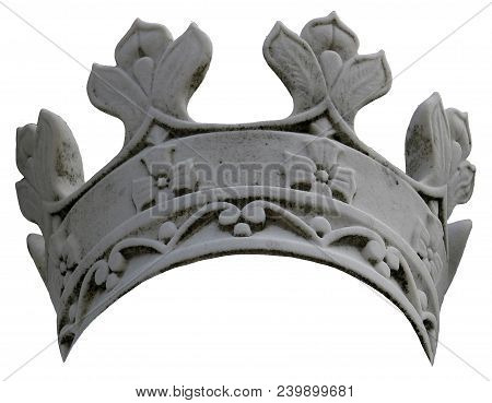 A Stone Crown With Details On An Isolated, White Background.