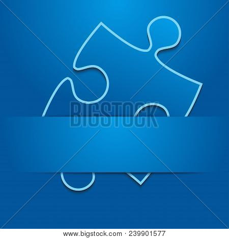 One Blue Background Puzzle Piece Inserted Ribbon. Jigsaw Banner. Happy New Year Merry Christmas. Abs