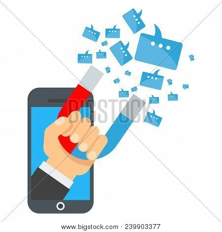 Attraction Of Message In Smartphon. Flat Vector Cartoon Illustration. Objects Isolated On White Back
