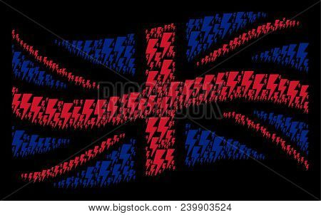 Waving Uk Flag Pattern Done Of Electric Strike Design Elements. Vector Electric Strike Items Are Uni