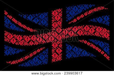 Waving Uk State Flag Concept Designed Of Error Design Elements. Vector Error Pictograms Are United I