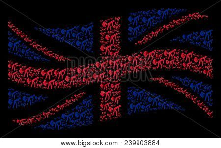 Waving Uk State Flag Collage Organized Of Fart Gases Pictograms. Vector Fart Gases Pictograms Are Fo