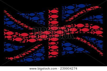 Waving Great Britain Official Flag Concept Created Of Fish Elements. Vector Fish Pictograms Are Orga