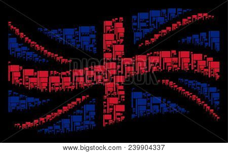 Waving English Official Flag Composition Organized Of Flag Design Elements. Vector Flag Items Are Co