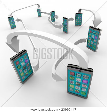 A number of smart phones with apps on touch screens are connected with arrows symbolizing a network of sharing and communication technology