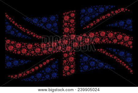 Waving United Kingdom State Flag Mosaic Combined Of Ladybird Bug Elements. Vector Ladybird Bug Items