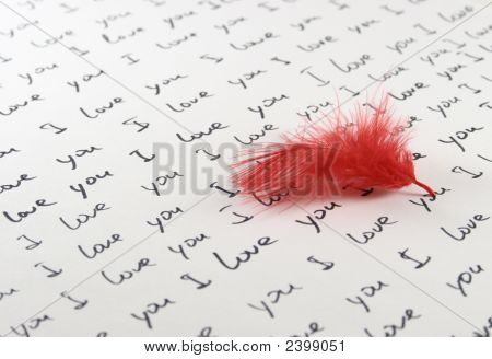 Feather And Handwritten Love Letter Horizontal