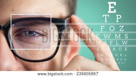man with eye focus box detail over glasses and lines and Eye test interface