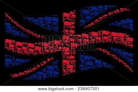 Waving United Kingdom Official Flag Composition Constructed Of Waving Flag Icons. Vector Waving Flag