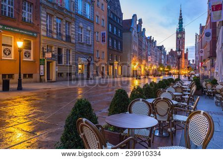 Gdansk, Poland - May 5, 2018: Architecture of the old town in Gdansk with city hall at dawn, Poland. Gdansk is the historical capital of Polish Pomerania with beautiful architecture.