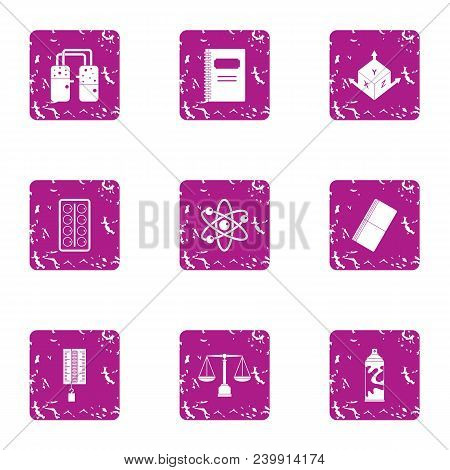 Scientific Figure Icons Set. Grunge Set Of 9 Scientific Figure Vector Icons For Web Isolated On Whit