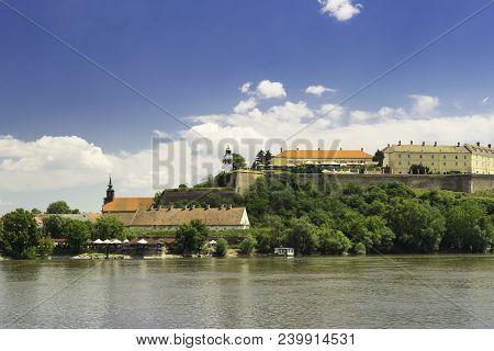 Petrovaradin Fortress In Novi Sad. Petrovaradin Fortress Over Danube River. Sunny Day In Novi Sad. P