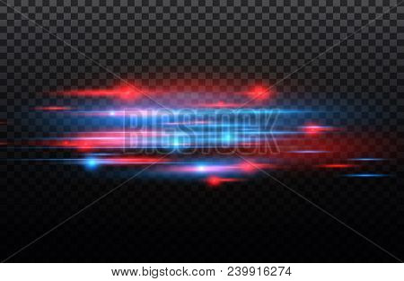 Vector Red And Blue Special Effect. Luminous Stripes On A Transparent Background. Beautiful Glow Glo