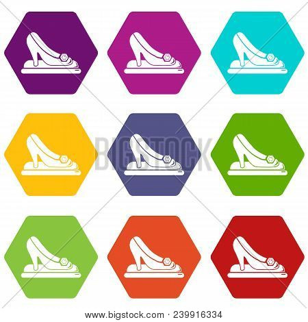 Princess Shoes Icons 9 Set Coloful Isolated On White For Web