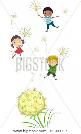 Illustration of Kids Playing with Dandelion Stalks