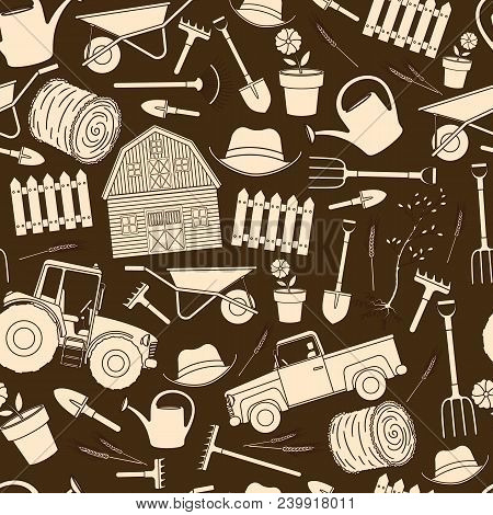 Seamless Pattern Of Farming Equipment Liine Icons. Farming Tools And Agricultural Machines Decoratio