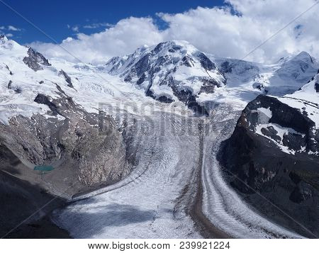 Peaceful Monte Rosa Landscapes Of Alpine Glacier, Dufourspitze Highest Mount In Swiss Alps At Switze