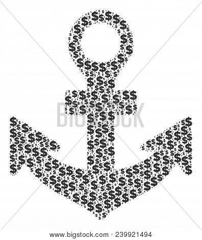 Anchor Composition Of Dollars And Circle Dots. Vector Money Pictograms Are Arranged Into Anchor Shap