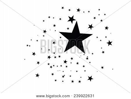 Stars On A White Background. Black Star Shooting With An Elegant Star.meteoroid, Comet, Asteroid, St