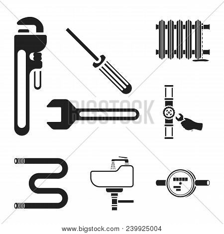 Plumbing, Fitting Black Icons In Set Collection For Design. Equipment And Tools Vector Symbol Stock