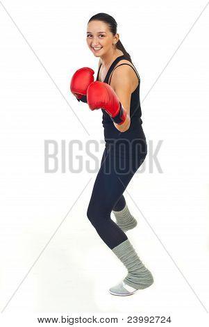 Happy Boxer Woman Training