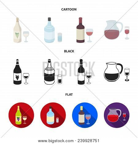 White Wine, Red Wine, Gin, Sangria.alcohol Set Collection Icons In Cartoon, Black, Flat Style Vector