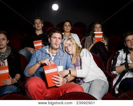 Scared Couple At Cinema
