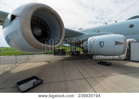 Berlin, Germany - April 25, 2018: Turbofan Ihi Corporation F7 Of The Maritime Patrol Aircraft Kawasa