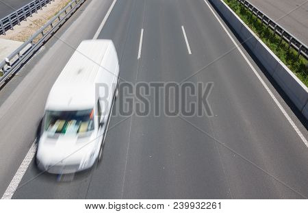 Delivery Van Express Train Transporter Delivers Hasty Goods