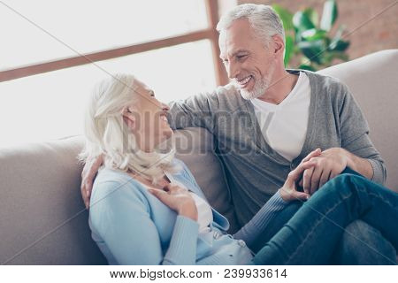 Old Aged, Caucasianleisure,  Happy Senior Couple Enjoying Time Together, Looking To Each Other, Laug