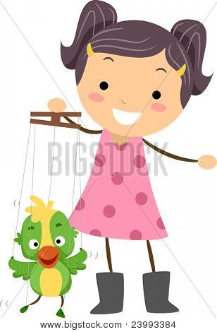 Illustration of a Little Puppeteer Manipulating Her Puppet
