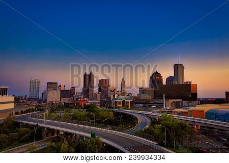 Looking south at the city of Columbus Ohio skyline at sunset.