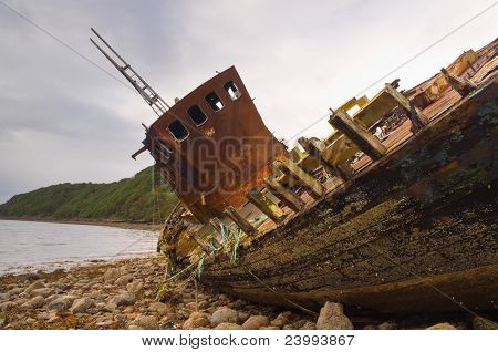 Fishing boat wreck close up