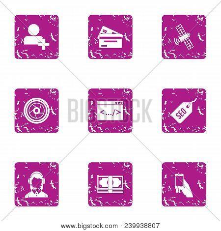 Seo Advice Icons Set. Grunge Set Of 9 Seo Advice Vector Icons For Web Isolated On White Background