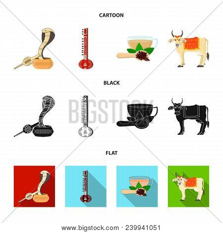 Country India Cartoon, Black, Flat Icons In Set Collection For Design.india And Landmark Vector Symb