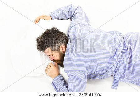Man Sleeping, Relax, Nap, Dream, White Background. Sleep And Relax Concept. Man With Sleepy Face Lie