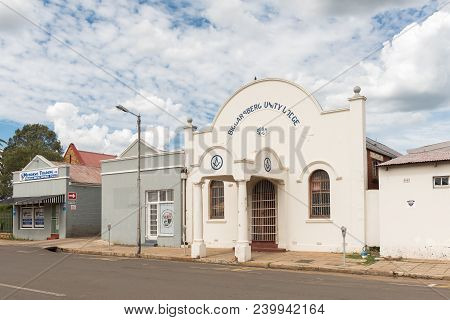 Dundee, South Africa - March 21, 2018: A Street Scene With The Biggarsberg Freemasons Unity Lodge In