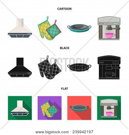 Kitchen Equipment Cartoon, Black, Flat Icons In Set Collection For Design. Kitchen And Accessories V