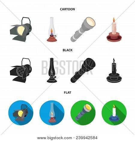 Searchlight, Kerosene Lamp, Candle, Flashlight.light Source Set Collection Icons In Cartoon, Black,