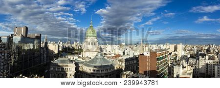 Panoramic Photo Of Buenos Aires Skyline Including The National Congress Building